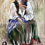 Siedząca Cyganka z fajką