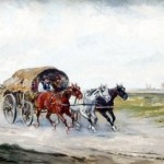 Wóz cygański w pejzażu